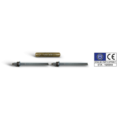 V Bossong chemical capsule and threaded rods for capsule with nut and washer